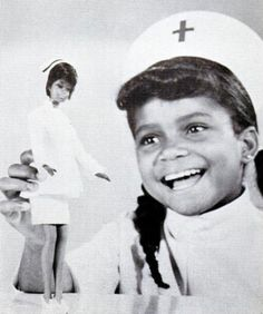 Ebony magazine, October 1969 - Mattel introduces TV's Julia (Diahann Carroll) as a friend of Barbie