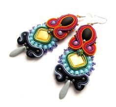 Rainbow Soutache Earrings with Czech Beads Shell by IncrediblesTN