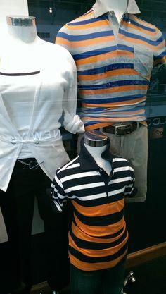 @nauticabrand boys striped polo in Orange, black, and white.  @nauticabrand Men's polo in Orange, blue, and gray stripe.