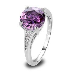 CZ Lab Amethyst Nice Silver 18K Gold Plated Ring Sz 6 7 8 9 10 11 12 Women  #designerdivajewelry #jewellery #jewelrysets #earrings #chain #pendants #weddingbands #bracelets #jewelry #rings