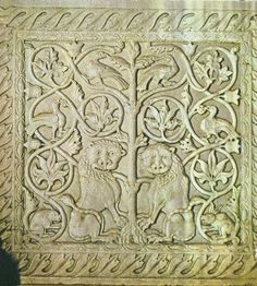Byzantine carvings of lions and peacocks. Church of Santa Maria Assunta in Venice.