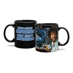This Bob Ross heat change mug combines the joy of painting with the joy of sipping. Just add a hot beverage to make a beautiful landscape appear on Bob's easel, or add a cold one and enjoy Bob's smile, perm, and words of wisdom. A ThinkGeek exclusive!