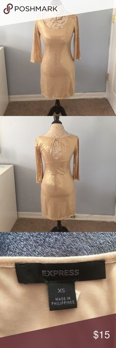 "Express Gold Dress Gold dress with round neck and button fastening behind neck . 3/4 length sleeves . 32"" shoulder to hem , 16"" armpit to armpit . Lined . 65% polyester 35"" rayon. Express Dresses Midi"