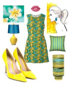 """""""Summer Colors"""" by kotnourka ❤ liked on Polyvore featuring Dolce&Gabbana, Gianvito Rossi, Pillow Decor, Raymor and Lime Crime"""