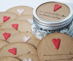 love these cute handmade #masonjar #labels perfect for #valentinesday