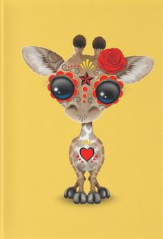 Red and Yellow Day of the Dead Sugar Skull Baby Giraffe by Jeff Bartels Funny Giraffe, Giraffe Art, Cute Giraffe, Tier Wallpaper, Animal Wallpaper, Unicorn Pictures, Cute Animal Pictures, My Spirit Animal, My Animal