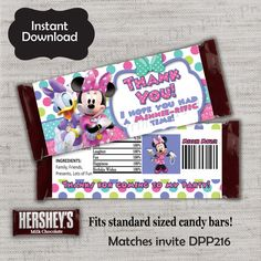 Minnie Mouse Candy Bar Wrapper,Minnie Candy Wrapper,Candy Bar,birthday Candy Wrapper,Party Treat,Minnie Mouse,DPP216