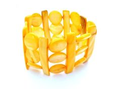 Wide Bracelet Mother of Pearl Yellow by TheJewelryLadysStore