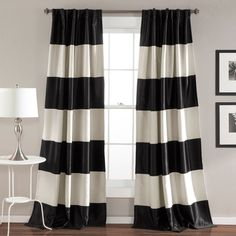 product image for Montego Stripe Rod Pocket Room Darkening Window Curtain Panel Pair