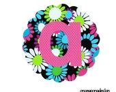 Scalloped Circle And Initial Iron On Applique...Daisy Fabric By Michael Miller ...You Choose Your Own Letter
