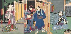 三味線を演奏芸者と喜び四半期におけるシーン、(1864)、歌川国貞によって「歌舞伎」アクターの「浮世絵」木版画のアルバム::コレクション::アートギャラリーNSW