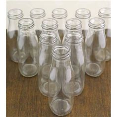 Mini Milk Glass Bottles With Gold & Silver Lids - Pack of - Kids Childrens Party Pack Set Tableware Mini Milk Bottles, Bottles And Jars, Glass Bottles, Mason Jars, Cocktail Umbrellas, Wedding Table Decorations, My Glass, Clear Glass, Party Packs