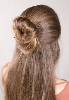 Long hairstyle ideas- Beautiful half-up bun! Laurel hair stick from Lilla Rose features a dark green wood bead. Find more gorgeous hair accessories at www.lillarose.biz/SheGlows