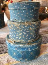 set of 3 small blue calico boxes, early, old, primitive and antique look