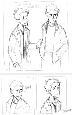 """""""He doesn't say """"I love you"""", like a normal person. Instead, he'll laugh, shake his head, give you a little smile and say: """"You're an idiot.""""""""     Destiel     Supernatural Fan Art by linneart on Tumblr"""