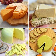 Vegan Firm Cheese Recipes (smoked cashew cheese, pistachio cheese, sunflower cheddar and marmite yeast extract cheese) easy to make hard vegan cheese that can grate, slice and melt Vegan Cheese Recipes, Vegan Foods, Vegan Dishes, Vegan Cashew Cheese, Vegan Recipes Plant Based, Vegan Cream Cheese, Vegetarian Cheese, Nut Cheese, Dairy Free Cheese