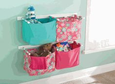fabric storage bins for the wall - love these!