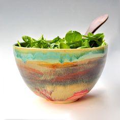 Noodle stoneware Serving Bowl - Turquoise Sunset glaze wheel thrown
