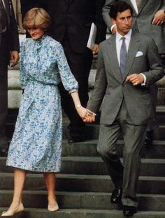 Prince Charles and Lady Diana leaving St. Paul's Cathedral after their wedding rehearsal.