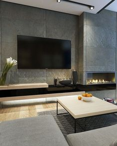 Living Room Modern Tv Wall Design Awesome Tv Wall Mount Ideas for Living Room – Viralhomezfo Living Room Tv, Living Room With Fireplace, Living Room Modern, Living Room Interior, Modern Minimalist Living Room, Tiled Wall Living Room, Living Toom Ideas, Small Living, Contemporary Living Room Designs