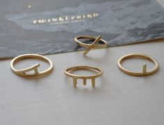 ring 'typographic' 14k gold | twinklebird