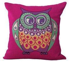 Cartoon Owl with Chevron Zigzag Pattern Pillow Cover