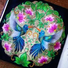 Johanna Basford - Secret Garden - humming birds Adult Coloring Book Pages, Colouring Pages, Coloring Books, Johanna Basford Books, Johanna Basford Coloring Book, Johanna Basford Secret Garden, Secret Garden Coloring Book, Caran D'ache, Coloring Tutorial