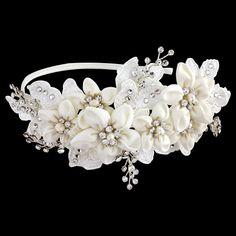 Grace Swarovski Crystal Floral Wedding Headband