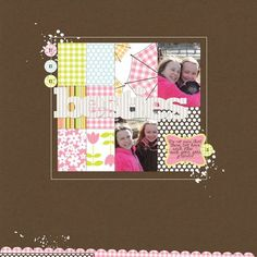 Besties Layout by Paula Gilarde Jillibean Sou's Egg Drop Soup Digital Paper Pack and Elements and Digital Corrugated Alphas Set 1 (via the Jillibean Soup blog).