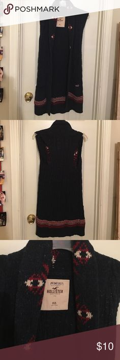 Hollister Sweater Sleeveless Cardigan Thick-knot, Dark Navy with Red and Tan design. Worn maybe twice. Hollister Sweaters Cardigans
