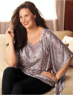 Plus Size Sequin Poncho by Lane Bryant   Lane Bryant