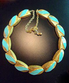 cf04beedc5458f Enamel Turquoise KRAMER Necklace Brushed Etched by RenaissanceFair
