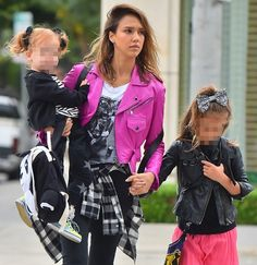 Jessica Alba was spotted out with her children in matching punk outfits as they left Le Pain Quotidien, a popular bakery, on Saturday in West Hollywood. Leopard Print Sneakers, Backpack Outfit, Actress Jessica, The Secret World, Punk Outfits, Two Daughters, Jessica Alba, West Hollywood, American Actress