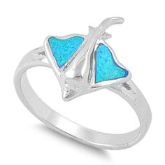 Lab Created Australian Blue Opal Stingray Fish Ring Solid 925 Sterling Silver Stingray Fish Jewelry Sea Lovers Nautical Gift