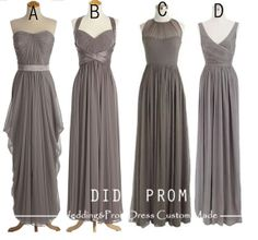 Custom Made Gray Bridesmaid DressMix Match Bridesmaid by DidoProm, can get them in maroon or plum  $109.00