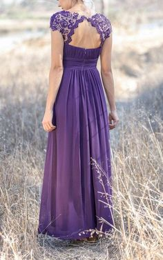 Lace and chiffon make an amazing team in this gorgeous purple bridesmaid dress, full of effortless charm. With its peek-a-boo effect of the partially opened back, cap sleeves and delicate lacey details, this stunning creation makes the perfect choice for a bridesmaid in search of a modern, yet whimsical style. FEATURESA-line silhouetteBateau-style necklineShort cap sleevesKeyhole in the backLace embellishmentsExtra support with a built-in-braBridesmaid