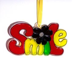 ORNAMENT  SMILE Acrylic  Red  Yellow by CreativeXpression1 on Etsy, $3.50