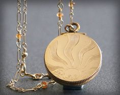 Art Deco Sun Locket Necklace with Mandarin by EnduringSentiments, $118.00