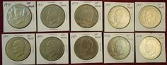 Lot of 10 Eisenhower Ike Dollars 1971 & 1972 Ungraded Read and see pictures! #ikedollars