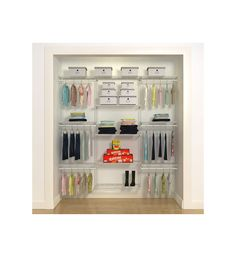 Customize your freedomRail closet system with the Kids Closet Style A and maximize your storage space to efficiently store all of your child's accessories