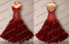 BRAND NEW READY TO WEAR  CHERRY RED FEATHER BALLROOM DANCE DRESS SIZE US 4
