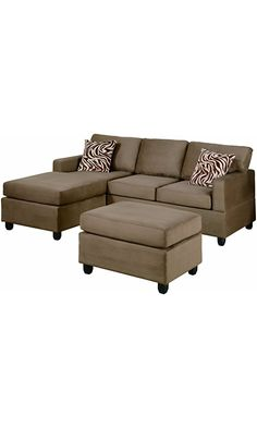Bobkona Manhattan Reversible Microfiber 3Piece Sectional Sofa Set Saddle  Best Price Couches Under 40063