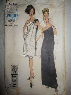 Vintage Vogue Evening Dress Pattern No 6596-Vogue Special Design-Circa 1960s-Greek Goddess