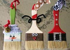 Ideas para hacer adornos navideños con brochas