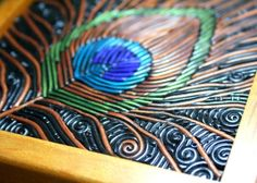 Peacock Feather- wooden jewelry box with polymer clay filigree by StarlessClay. Polymer clay art, jewelry, accessories, home decor