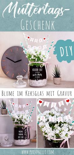 Keksglas, Bonbonglas oder Cookie Jar gravieren lassen DIY gift for Mother's Day: Give a homemade flower gift for mom on Mother's Day. Design an individual cookie jar with engraving and m Diy Gifts In A Jar, Diy Gifts For Mothers, Mother Day Gifts, Handmade Gifts, Mothers Day Present, Diy Décoration, Easy Diy, Sell Diy, Fleurs Diy