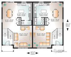 Contemporary 4 unit apartment house plan multi family for Quadruplex apartment plans