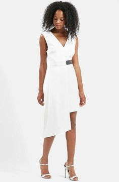 Free shipping and returns on Topshop Vinyl Trim Asymmetrical Midi Dress at Nordstrom.com. A flirty V-neckline and drapey, asymmetrical construction define a sleeveless woven dress, while a black vinyl strap at the waistline accents the optic white palette.