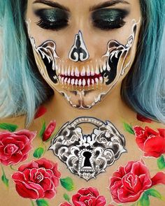 This dream-like skeleton makeup will make you want to host a Halloween party months early - HelloGiggles Amazing Halloween Makeup, Halloween Make Up, Halloween Face Makeup, Amazing Makeup, Halloween Ideas, Halloween Party, Pop Art Makeup, Face Paint Makeup, Makeup Ideas