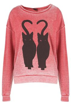 Twin Cat Burnout Sweat by Topshop
